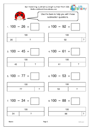 Preview of worksheet Bar modelling: subtract a 2-digit number from 100