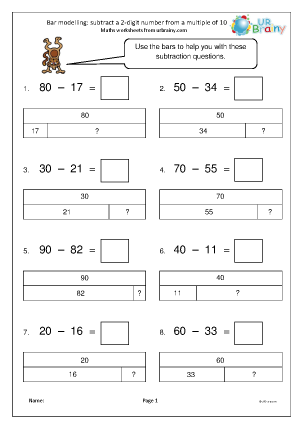 Preview of worksheet Bar modelling: subtract a 2-digit number from a multiple of 10