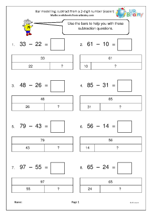 Preview of worksheet Bar modelling: subtract from a 2-digit number (easier)