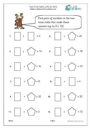 Preview of worksheet 2x table pairs to 12