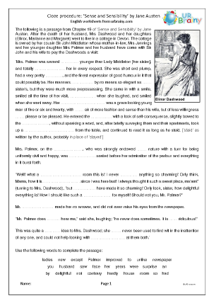 Preview of worksheet Sense and Sensibility by Jane Austen