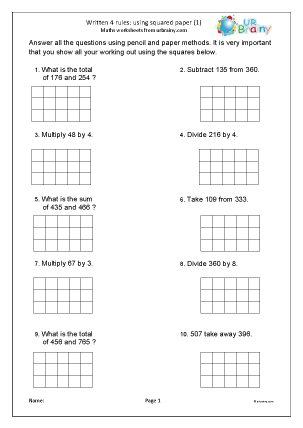 Preview of worksheet  Written four rules using squares (1)