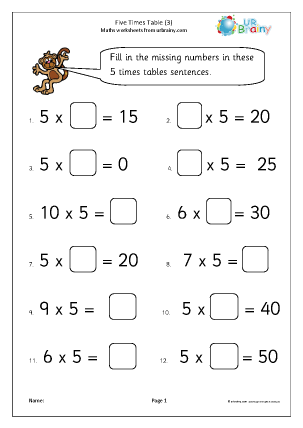 Preview of worksheet 5x table (3)