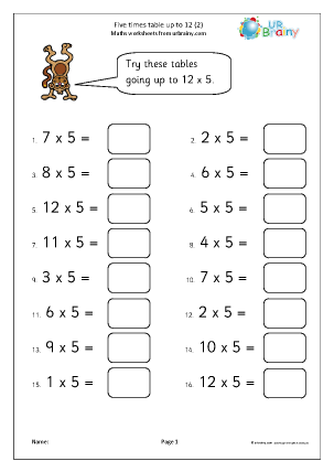 Preview of worksheet 5x table up to 12 (2)