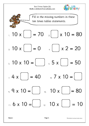 Preview of worksheet 10x table (3)