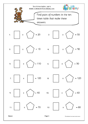 Preview of worksheet 10x table pairs