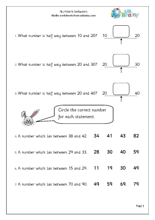 Preview of worksheet Number half way between two others