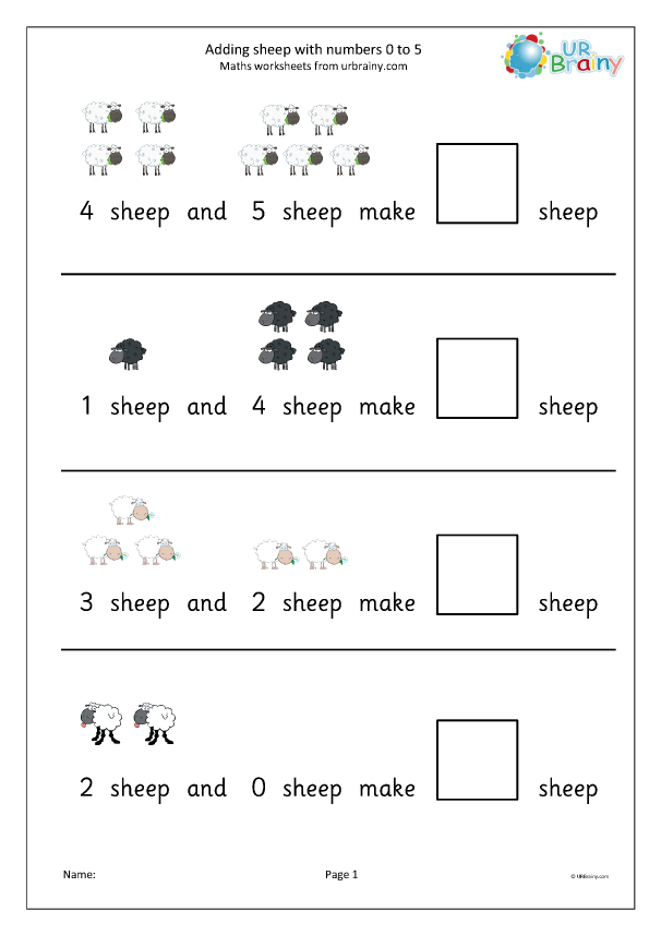 Preview of 'Addition from 0 to 5 sheep'