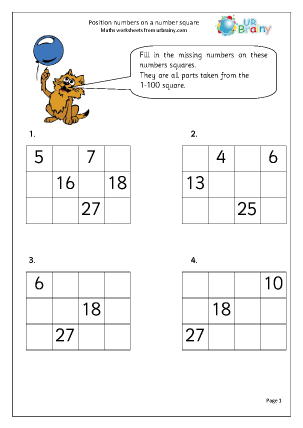 Preview of worksheet Position numbers on a number square