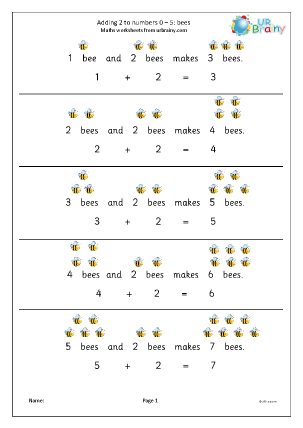 Preview of worksheet Add two to numbers from 0 to 5 bees