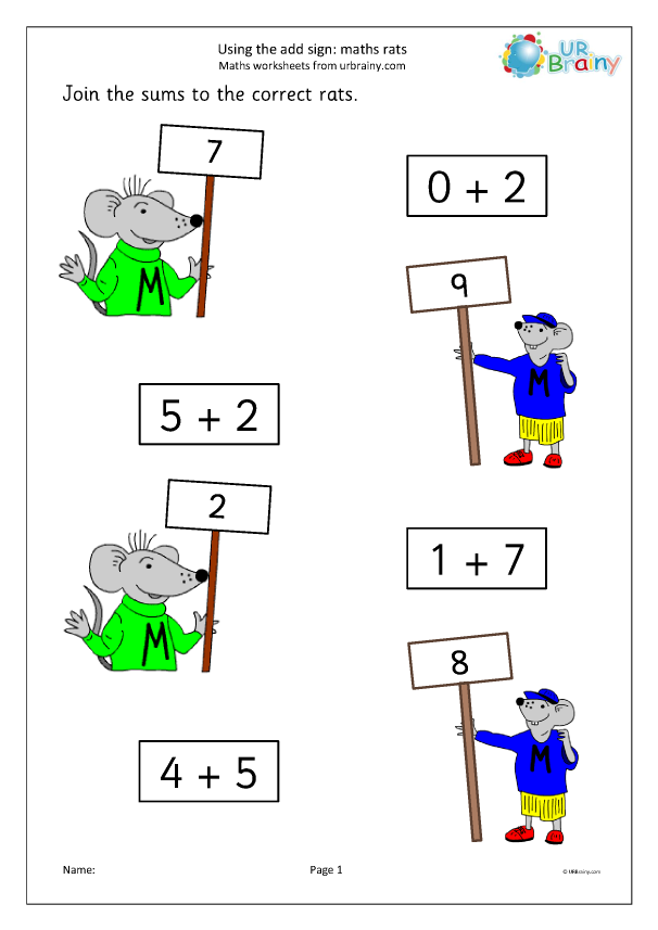 Preview of 'Using the add sign maths rats'
