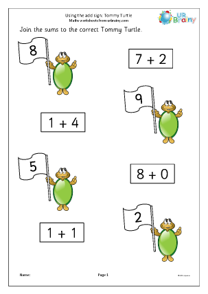 Preview of worksheet Using the add sign Tommy Turtle