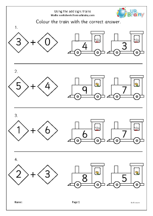 Preview of worksheet Using the add sign trains