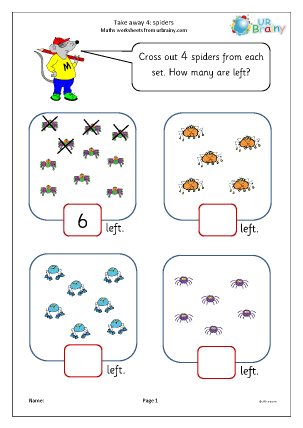 Preview of worksheet Take away four (2)