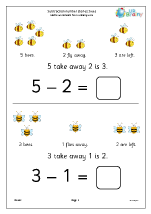 Subtraction number stories - bees