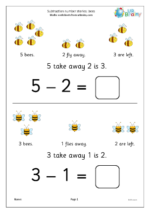 Preview of worksheet Subtraction number stories - bees
