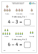 Subtraction number stories - cakes