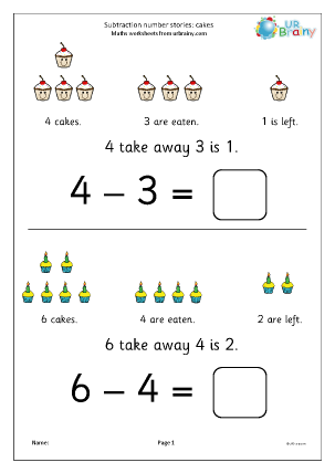 Preview of worksheet Subtraction number stories - cakes