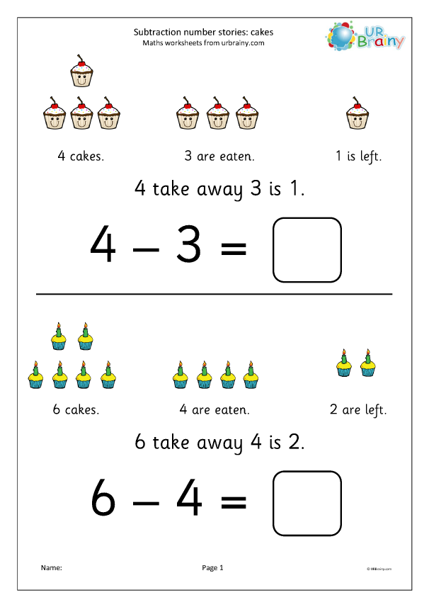 Preview of 'Subtraction number stories - cakes'