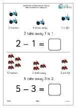 Subtraction number stories - tractors