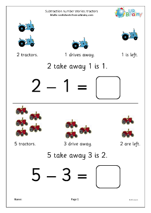 Preview of worksheet Subtraction number stories - tractors