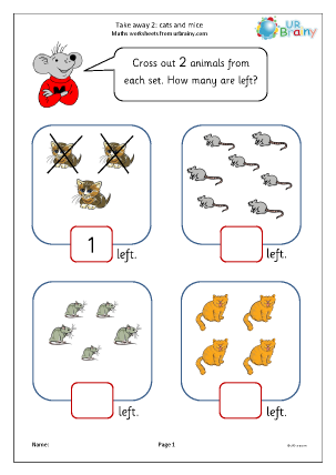 Preview of worksheet Take away two (2)