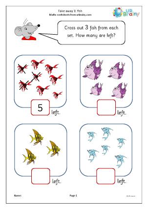 Preview of worksheet Take away three (2)