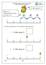 Subtraction with a number line - aliens