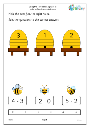 Preview of worksheet Using the subtraction sign - bees