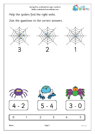 Preview of worksheet Using the subtraction sign - spiders