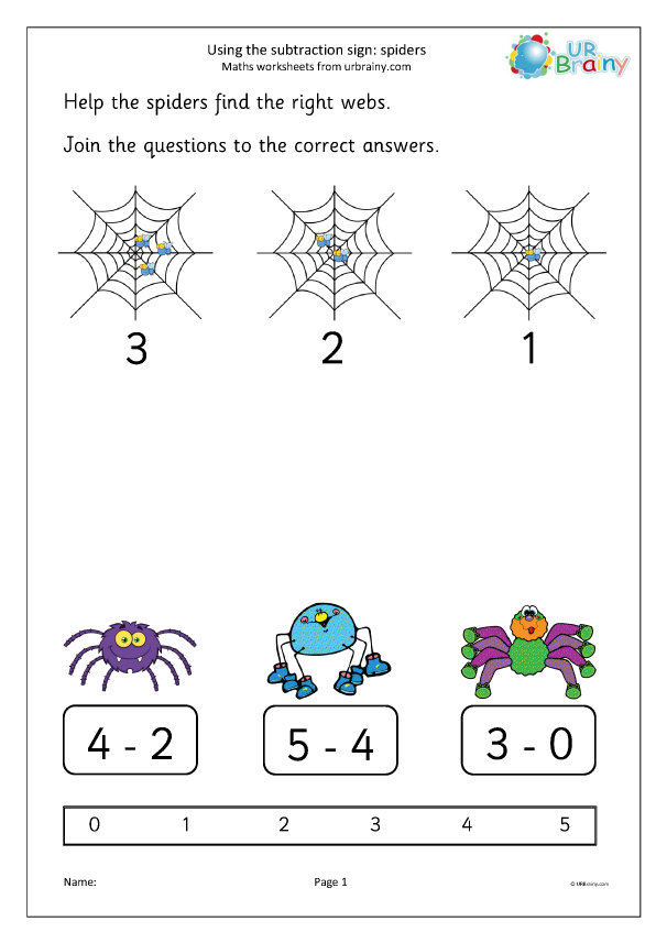 Preview of 'Using the subtraction sign - spiders'