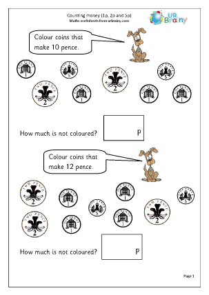 Preview of worksheet Counting money (2)