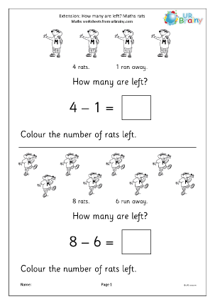 Preview of worksheet Extension:how many rats are left?