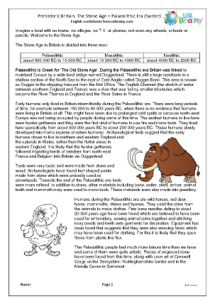 Preview of worksheet Palaeolithic Britain comprehension (harder)