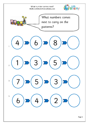 Preview of worksheet What number comes next?