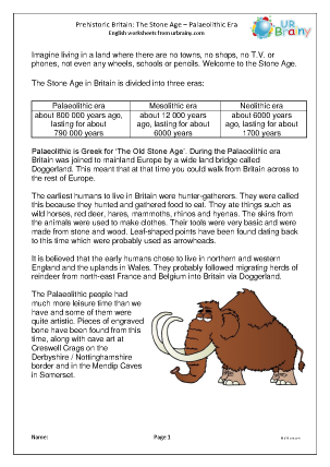 Preview of worksheet Palaeolithic Britain comprehension