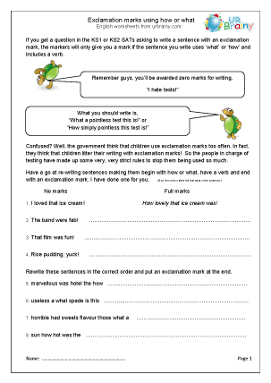 Preview of worksheet Exclamation marks: using how and what