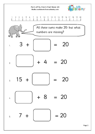 Pairs of numbers that make 20.