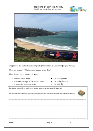 Preview of worksheet Travelling by train to a holiday