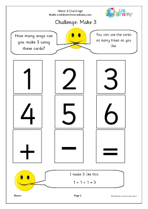 Preview of worksheet Make 3: number sentences
