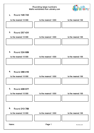 Preview of worksheet Rounding large numbers