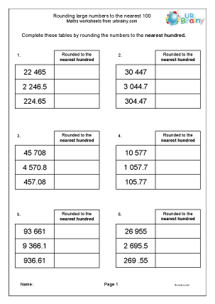 Preview of worksheet Rounding large numbers to 100
