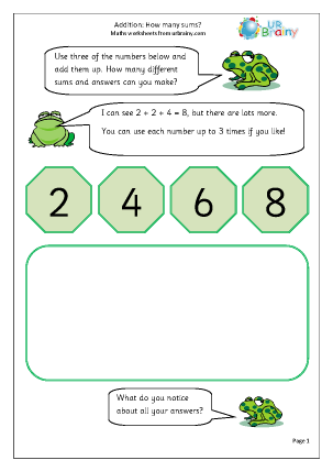 Preview of worksheet How many sums?