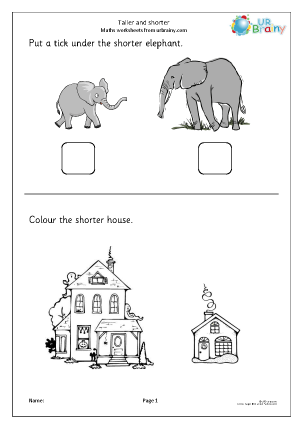 Preview of worksheet Taller and shorter (2)