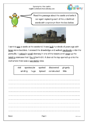 Preview of worksheet Synonyms: the castle