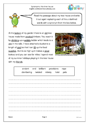 Preview of worksheet Synonyms: the tree house