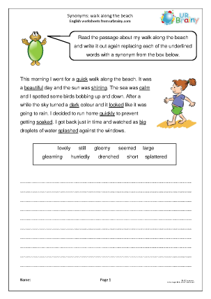 Preview of worksheet Synonyms: walk along the beach.