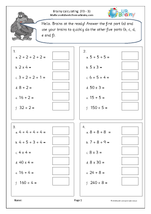 Preview of worksheet Intelligent calculating 3
