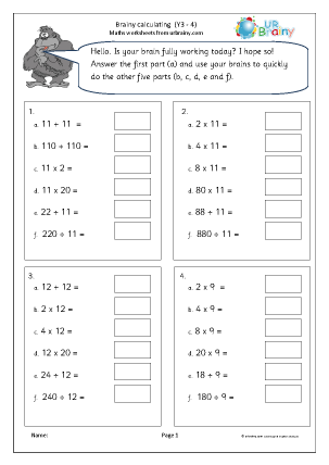 Preview of worksheet Intelligent calculating 4
