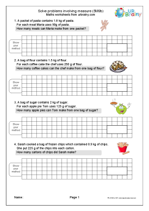 Preview of worksheet Solve problems involving measure (5M9b)
